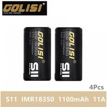 Аккумулятор Golisi S11 IMR 18350, 4 шт., 1100 мАч, 11A, аккумуляторная батарея для вейпа, мод, литий ионный аккумулятор, VS keeppower 18350