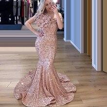 สีชมพูปิดไหล่ชุดชุดนางเงือกผู้หญิง PARTY Night ชุดราตรี 2020 Handmade ดอกไม้พรหม Dresses Robe De Soiree