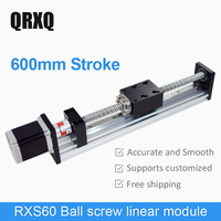 600mm stroke linear guide ball screw drive cnc single axis robot arm for industry building automation