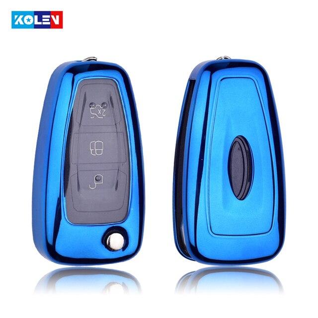 Housse pour clé télécommande intelligente de voiture, plaquée en TPU + PC souple, pour Ford c-max s-max Focus, Galaxy, Mondeo, Transit, Tourneo