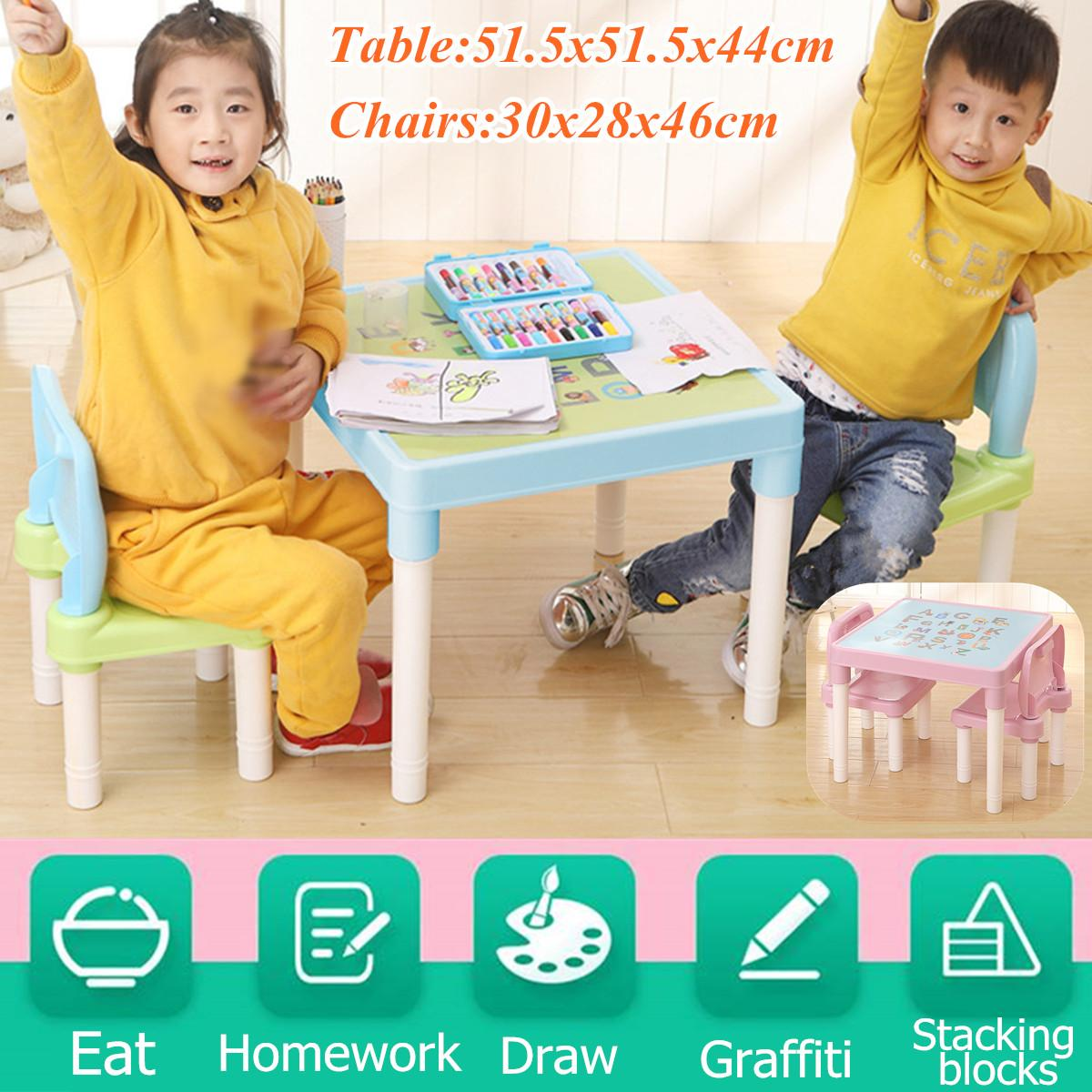Children's Study Table And Chairs Cartoon English Alphabet Table For Kid Furniture Sets Writing Toy Game Table And Chair Set