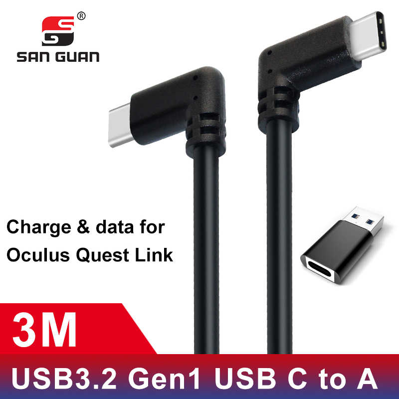 USB Type C Cable 10ft 3M Oculus Quest Link Compatible VR Speed Data Transfer Fast Charge USB 3.2 Type-C with USB C to A Adapter