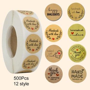 500 Handmade With Love Stickers Scrapbooking Hand Made Handmade Label Wedding Stickers Adhesive Sticker Kraft Round Labels 1
