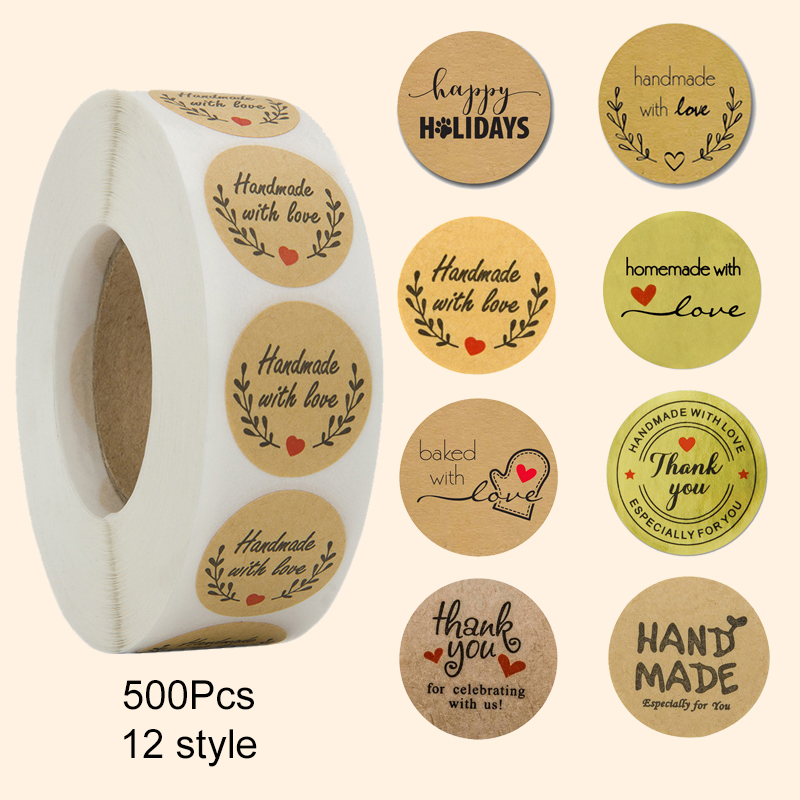 500 Handmade With Love Stickers Scrapbooking Hand Made Handmade Label Wedding Stickers Adhesive Sticker Kraft Round Labels