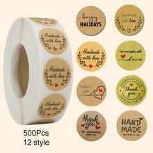 500 pegatinas hechas a mano con amor Scrapbooking etiquetas hechas a mano pegatinas de boda adhesivo Kraft etiquetas redondas