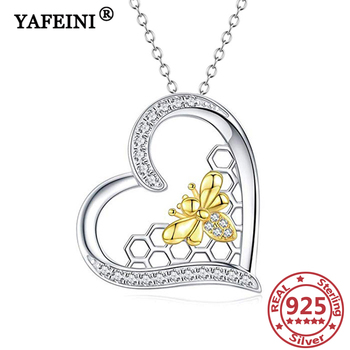 YAFEINI 925 Sterling Silver Bee&Honeycomb Necklace Cubic Zircon Woman Necklace Mother's Day Gift Graduation Gift Women's Jewelry