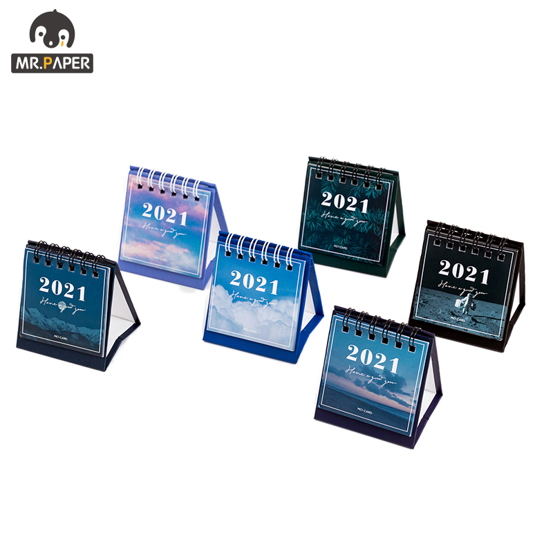 Mr.Paper 2021 mini Calendars Creative Desktop Ornaments Portable Work Note Calendar New Year Study Work Daily Schedulel 6 Styles 3