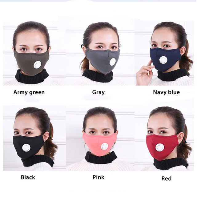 Cotton PM2.5 Black mouth Mask Anti Haze Anti-dust Mask Activated Carbon Filter Respirator bacteria proof Flu Face masks Washable 2