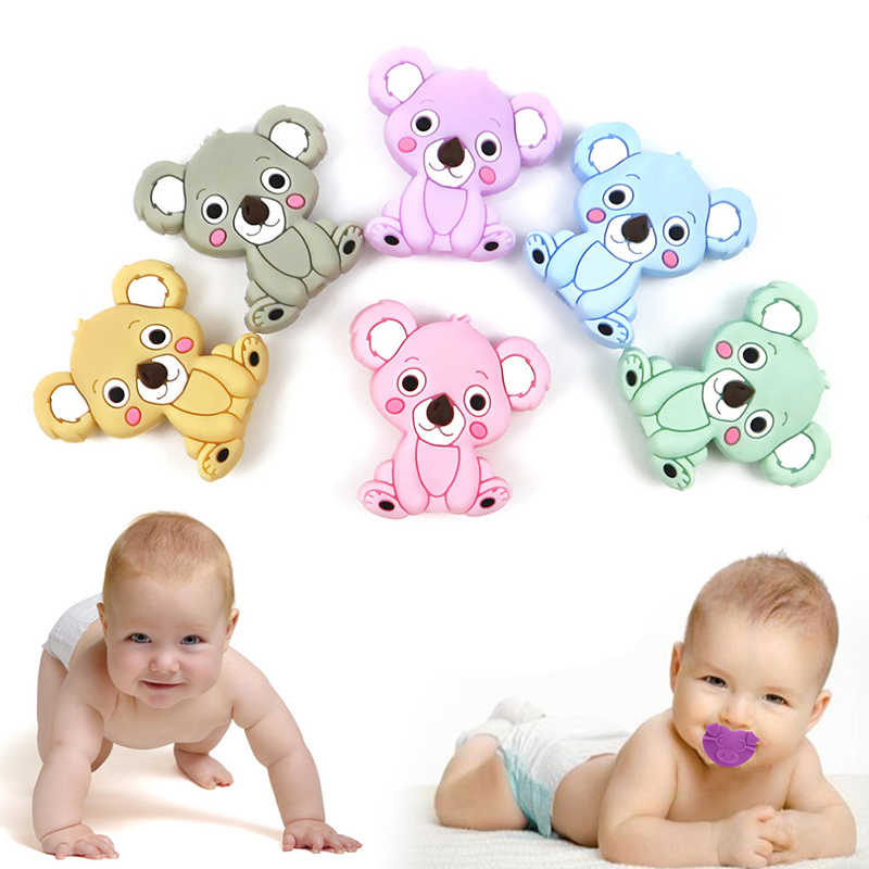 Bite of Food Grade Silicone Diy Animal Koala Baby Teether Chewing Ring Silicone Baby Teething Toys Gift for Kids Children