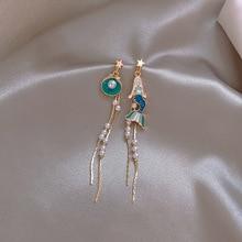 2020 Summer Fashion Jewelry Girl Mermaid Drop Tail Chain Earrings Asymmetric Astronaut Space Tassel Dangle Earrings for Women 2019 asymmetric tassel chain drop earring new fashion kpop korean safety pin dangle earrings jewelry
