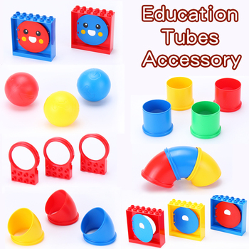 Technology Education Tubes Accessory Part Pipe Conduit Compatible with Duploed Big Building Blocks DIY Early Learning Toys image