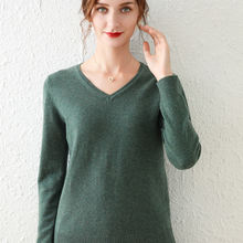 Women's cashmere solid  autumn winter v neck sweaters and