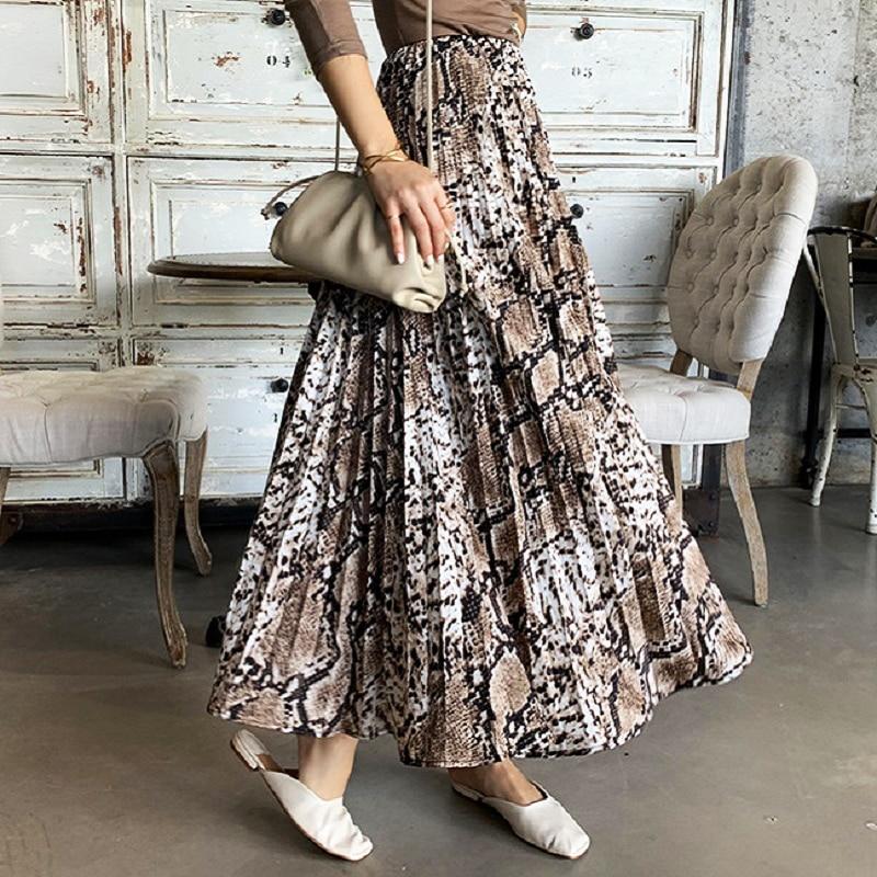 Summer Style Casual Women Beach Skirt 2019 Womens Snake Print High Waist Pleated Skirt Vintage Slim Pleated Skirt A Word Skirts