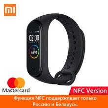 Oryginalny Xiaomi Mi Band 4 inteligentna bransoletka kolorowy ekran dotykowy Miband 4 wersja standardowa i NFC z rosyjską kartą MasterCard NFC