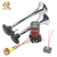 Universal 12V 24v Car Air Horn Compressor Siren Loud Electrice Pump Dual Tone Trumpet For Auto Motorcycle Van Boat Truck