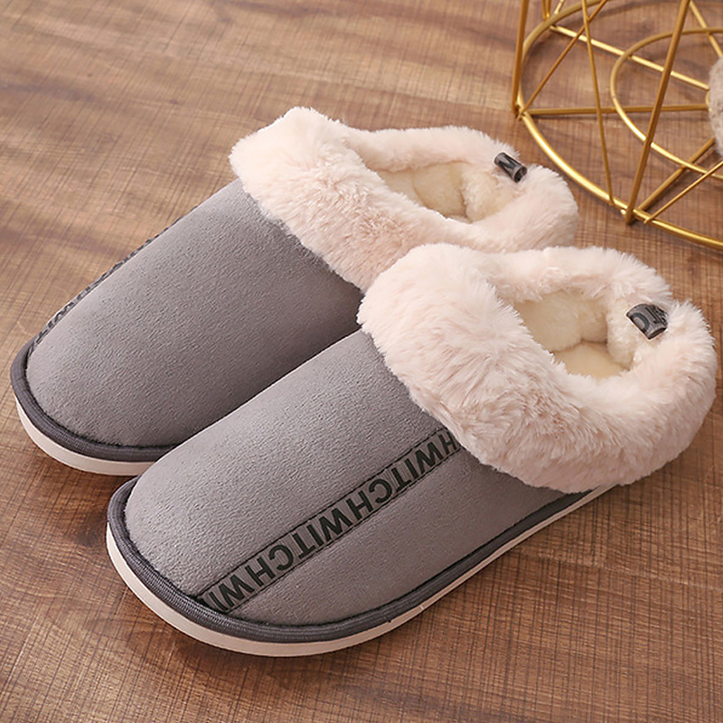 Women 39 s slippers Winter Warm Short plush Indoor slippers Large size 42 44 Non slip Waterproof Platform slippers in Slippers from Shoes