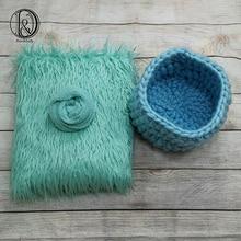 Don&Judy 3pcs/set Including Faux Fur+Basket Nest+Wrap Photography Photo Prop Newborn Blanket Background Backdrop Rug Photo Prop