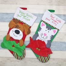 Christmas Dog And Cat Christmas Socks Gift Bag Christmas Tree Pendant Christmas Decoration For Christmas Party Decorating(China)