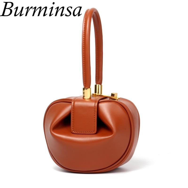 Burminsa luksusowe prawdziwej skóry torebki damskie małe torby na ramię Top uchwyt torby wieczorowe wysokiej jakości panie data Party torby 2019 w Torby z uchwytem od Bagaże i torby na  Grupa 1