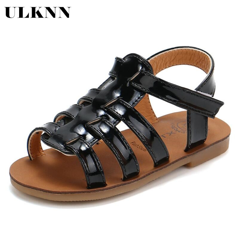 ULKNN HOT Summer Kids Summer Kids Children Sandals Fashion Gold Girls Flat Pricness Shoes Baby Sandals Gold Silver Black