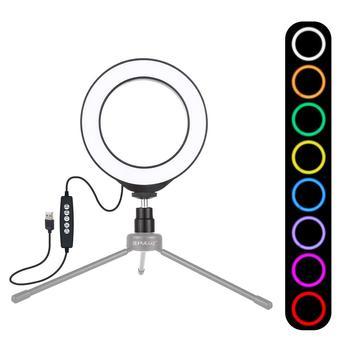 PULUZ 4 7 Cal USB RGBW możliwość przyciemniania LED Mini Lampa pierścieniowa do Youtube fotografia wideo Lampa pierścieniowa Lampa Pierscieniowa Luz Led tanie i dobre opinie 3300-5600 k