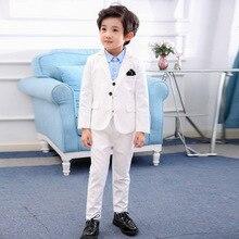 Dress Costume Tuxedo Wedding-Suit Flower Prom-Party Children's-Day Baptism White Boys