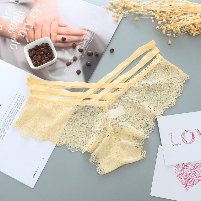 Sexy Panties Women Lace Low-rise Solid Sexy Briefs Transparent Female Underwear Soft Lingerie Ladies G String Thong
