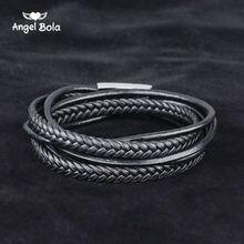 Модный черный браслет Будды из натуральной кожи черная застежка