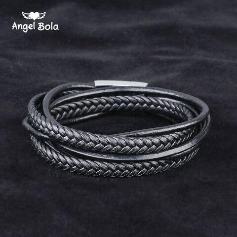 Купить модный черный браслет будды из натуральной кожи черная застежка