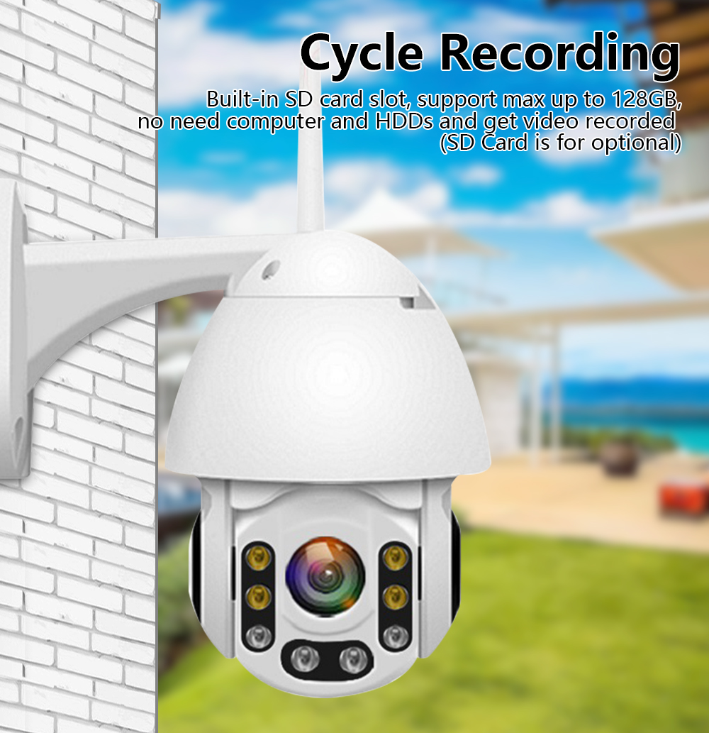 1080P WiFi IP Camera Motion Detect Auto-Tracking PTZ 4X Zoom 2-way Audio P2P CCTV Security Outdoor Dome Cam Surveillance Camera