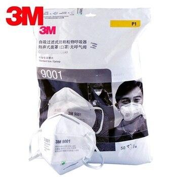 50 unids/caja 3M 9001 máscara de polvo máscara de partículas a prueba de polvo máscaras de seguridad