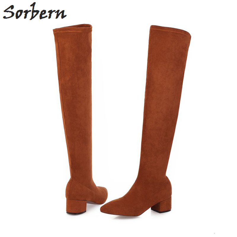 Sorbern Stretched Over The Knee Boots Hoof Low Heels Pointy Toe Mid Thigh High Ladies Boot Women Shoes Size 45 Custom Color