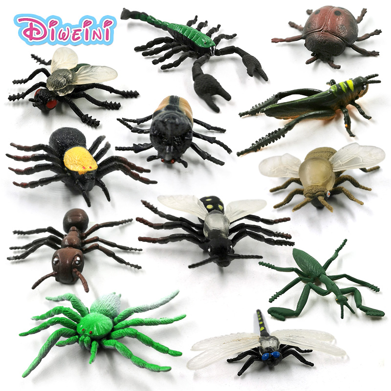 12pc New Insect Animal Model Action Figure Dragonfly Scorpion Spider Ant Grasshopper Mantis Cockroach Hot Toy Set For Children