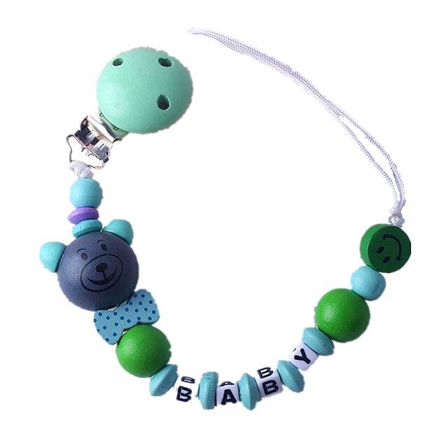 Sucette avec nom personnalisé pour bébé, chaîne, jouets de dessins animés, ours mignon, porte tétine en bois, petits garçons, filles