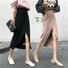 Autumn Winter Split Long Skirts Women Streetwear High Waist Sexy Knitted Pencil Plus Size black Midi Skirt jupe femme