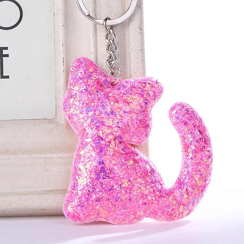 Kedi anahtarlık Sequins kolye kadınlar için çanta araba anahtarı telefonu aksesuarları anahtarlık