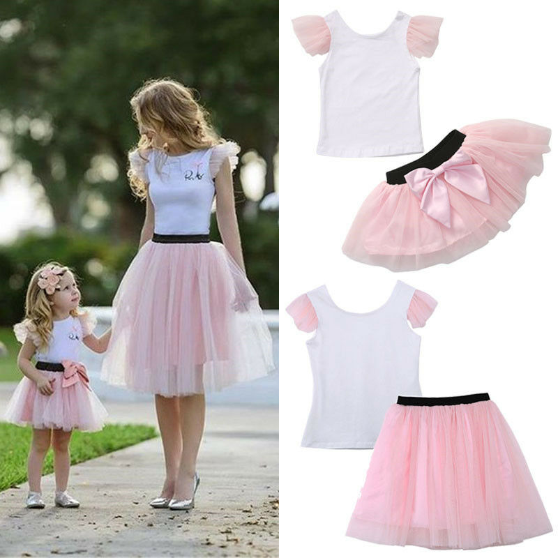 2pcs Mom Daughter Matching Clothes Women Girls Short Sleeve T-shirt Tee Short Bow Knot Tutu Skirt Summer Casual Outfits