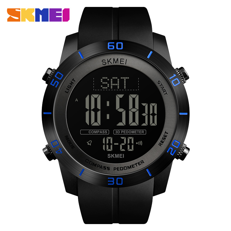 Мужские Цифровые часы эксклюзивный бренд SKMEI наручные часы калорий шагомер браслет для мужчин компас цифровые часы мужские s часы