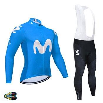 Movistar-Ropa de Ciclismo para Hombre conjunto de manga larga, Maillot, pantalones con...