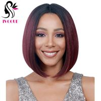 Burgundy Ombre Human Hair Wig Bob Wigs Straight Brazilian Remy Lace Front Human Hair Wig Free Part Two Tone #1B/99J