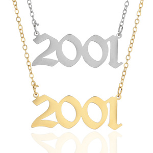 Image 2 - Personalized Wedding Date Necklace Anniversary Jewelry 2001 2002 2003 2004 2005 2006 2007 2008 Custom Birth Year Necklaces BFF