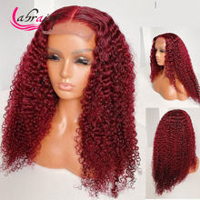 99J 13X6 HD прозрачные накладные парики из человеческих волос, кудрявые вьющиеся бордовые накладные парики с глубокой волной, предварительно вы...