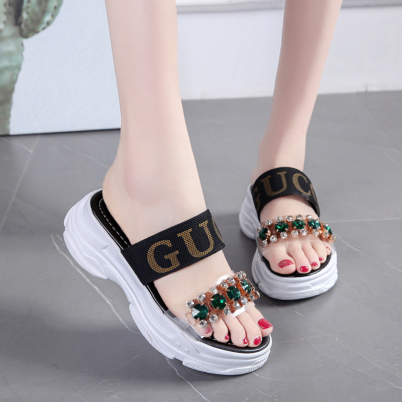 5cm/1.95 Inch Height Outdoor Sliede For Women Fashion Shoes Woman Rhinestone Summer Shoes Flat Platform Slippers Sandals