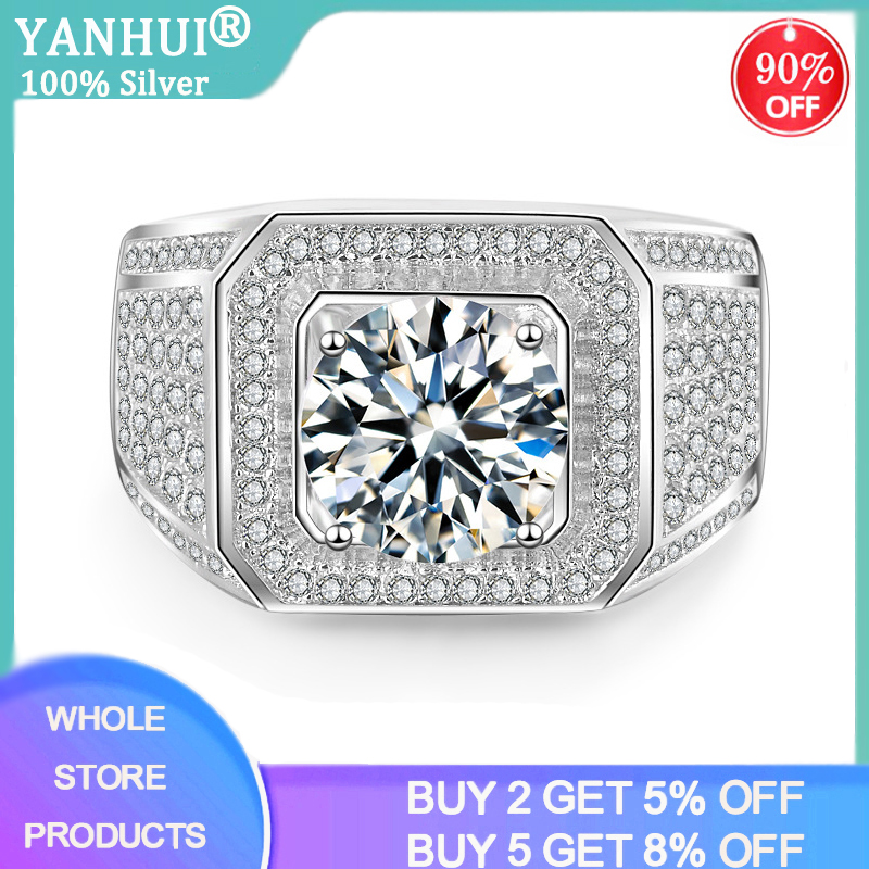 YANHUI Best Men Gift Fine Jewelry Men Engagement Wedding Rings Silver 925 Jewelry Big 2.0ct Zirconia Diamond Rings For Men Male