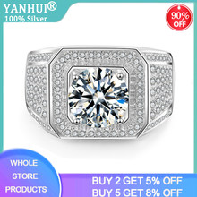 YANHUI Best Men Gift Fine Jewelry Men Engagement Wedding Rings Silver 925 Jewelry Big 2.0ct Zirconia Diamond Rings For Men Male(China)