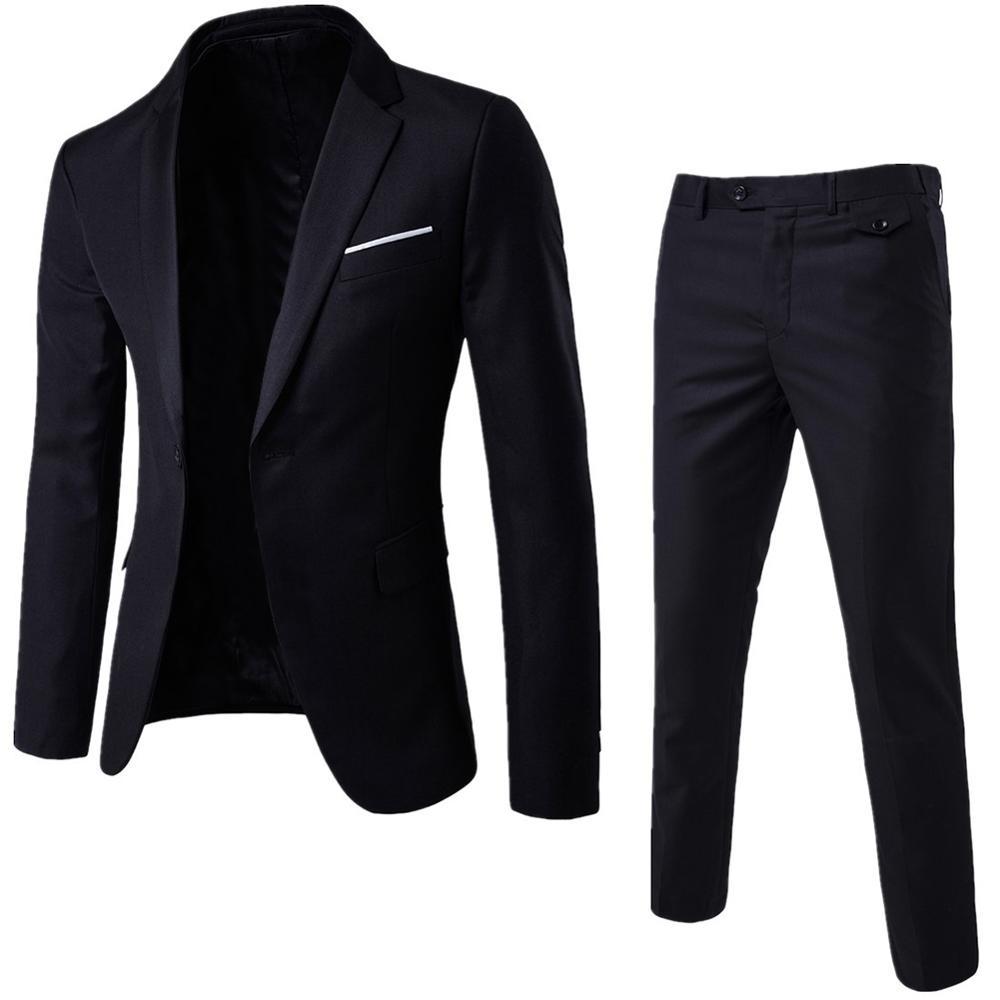 גברים אביב 2 חתיכות קלאסיים סטי חליפת גברים עסקים בלייזר + מכנסיים חליפות סטי 2019 סתיו גברים מסיבת חתונה סט