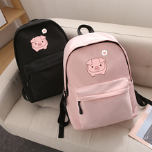 Cute Cartoon Pig Women's Backpacks For Girl Student Female F