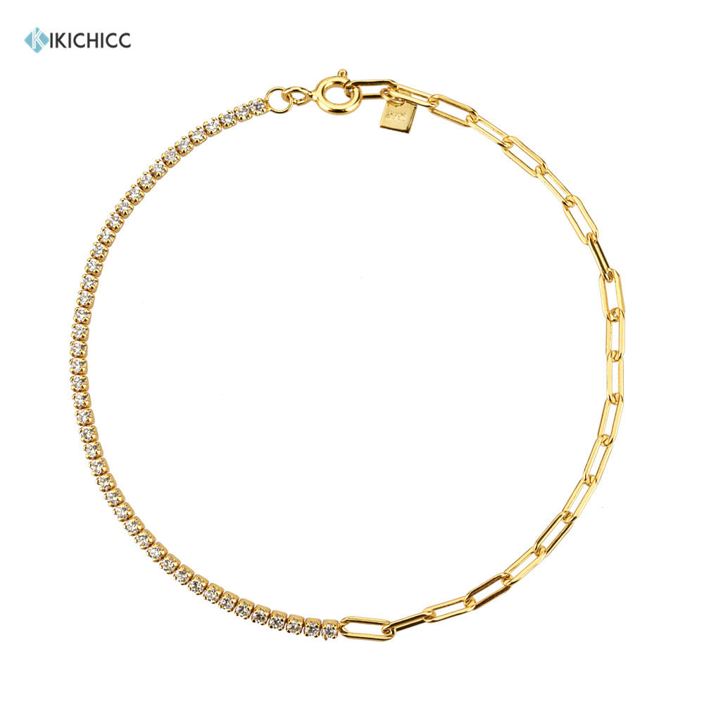 Kikichicc 100% 925 Sterling Silver Irregular Geometric Chains Zircon CZ Bracelet Splice Women Luxury Crystal Jewelry Gift