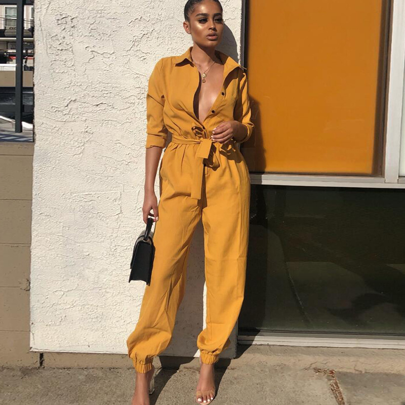 Long Sleeve Lapel   Jumpsuits   Women's Elastic Waist Casual Rompers Womens   Jumpsuit   Overalls For Women Green Yellow Lady Romper