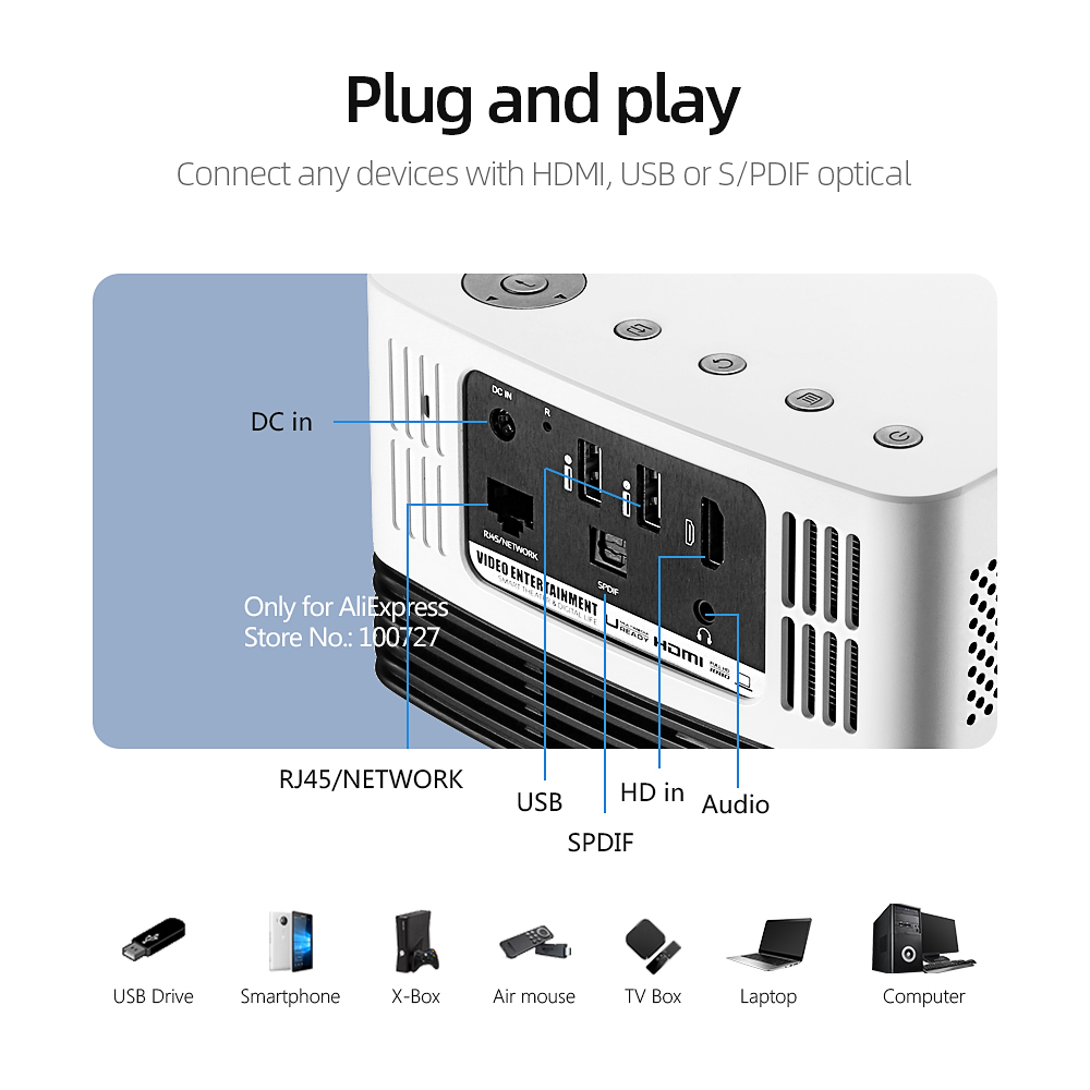 VIVIBRIGHT Full HD Projector J20, 1920*1080P, Android WIFI, 18000mAH Battery, Portable DLP Projector. Support 4K 3D Beamer 5